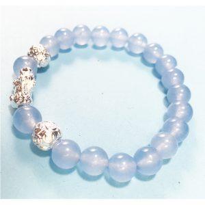 vòng aquamarine charm tỳ hưu bạc